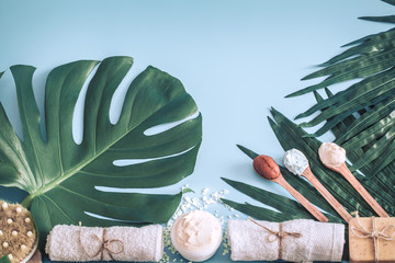 Still life of spa items on a colored background