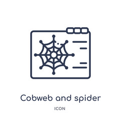 cobweb and spider icon from web outline collection. Thin line cobweb and spider icon isolated on white background.