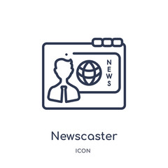 newscaster icon from web outline collection. Thin line newscaster icon isolated on white background.