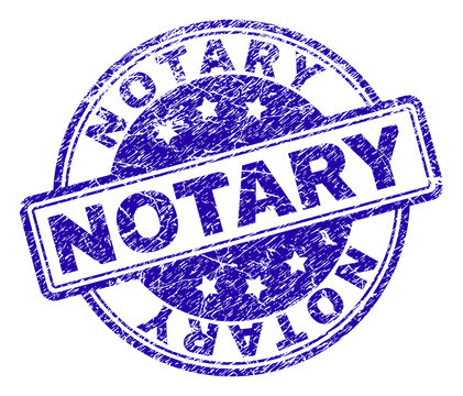 NOTARY stamp seal watermark with grunge effect. Designed with rounded rectangles and circles. Blue vector rubber print of NOTARY tag with grunge texture.