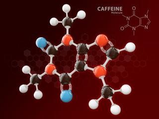 3d Illustration of Caffeine molecular model isolated red