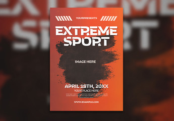 Extreme Sports Flyer Layout with Paint Stroke Photo Placeholder