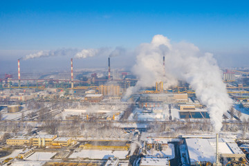 Aerial view of power plant and coal storage. Photo captured with drone.