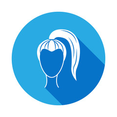 female hairstyle icon with long shadow. Signs and symbols can be used for web, logo, mobile app, UI, UX