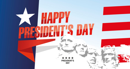 Happy Presidents Day Rushmore USA abstract flag landscape color background banner Fotomurales