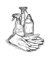 Artistic pen and ink hand drawing illustration of house cleaning products and rubber gloves.