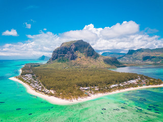 Aerial view of Le morne Brabant in Mauriutius, panoramic view on island