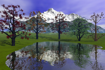 Beautiful trees, an alpine landscape, reflection in the waters of the lake, snowy mountain and a clouds in the sky.
