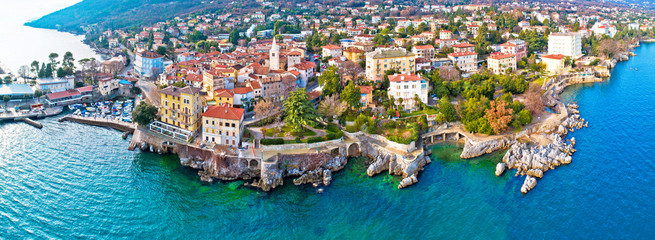 Town of Lovran and Lungomare sea walkway aerial panoramic view Wall mural