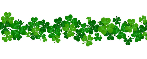 vector paper green shamrocks on white background