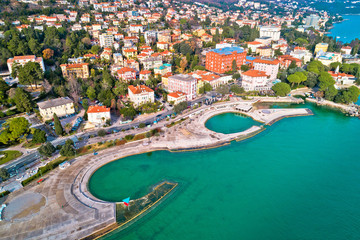 Slatina beach in Opatija aerial panoramic view