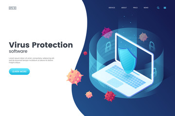 Obraz Virus protection vector illustration. Internet security. Cyber attack on the computer. Computer protection by antivirus software. Isometric concept. Protective laptop and shield. - fototapety do salonu