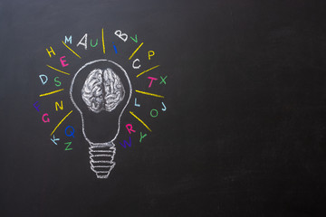 bulb with human brain and letters chalkboard