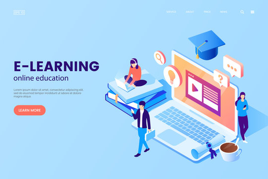 Online education vector illustration. E-learning platform. Workplace with laptop, books, graduation cap, cup of coffee and tiny people. Isometric style. Online school advertising. Learning process.
