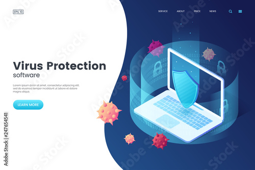 Virus protection vector illustration  Internet security