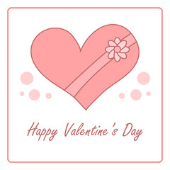 Valentine's day card with gift box. vector design illustration
