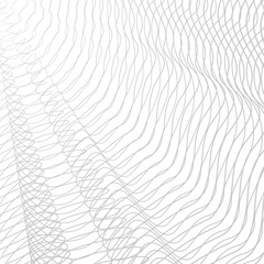 Monochrome line art pattern, textile, net, mesh textured effect. Vector abstract pleated net. Gray striped openwork background. Tech squiggle tangled thin lines, subtle curves. EPS10 illustration