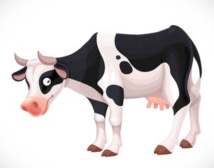 Cute cow with black spots farm animal isolated on white background