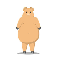 Thick pig Pig on two legs. Cartoon pig. Sign of 2019.