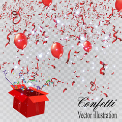 Colorful confetti on a beautiful background with balloons. Celebration and party. Colorful bright confetti isolated on transparent background. Festive vector illustration.