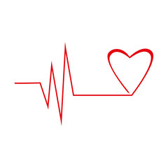 Heart graph in red line, cardiogram