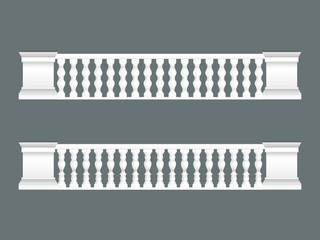 White classic balustrade set isolated, architectural elements set