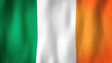 Ireland flag waving in the wind. Closeup of realistic Irish flag with highly detailed fabric texture