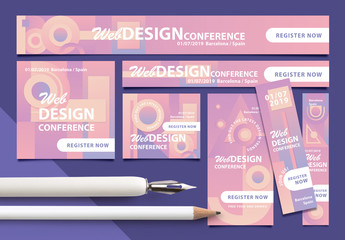 Web Banner Layouts with Pastel Geometric Patterns