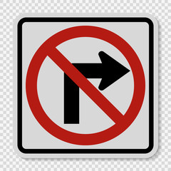 Do not turn right traffic sign on transparent background