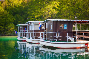 Park boats ready for service at early morning, Plitvice Lakes National Park, Croatia
