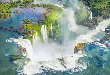 Beautiful aerial view of Iguazu Falls from the helicopter ride, one of the Seven Natural Wonders of the World - Foz do Iguaçu, Brazil Fotomurales