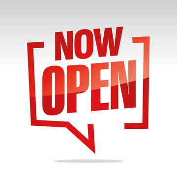 Now Open in brackets speech red white isolated sticker icon banner