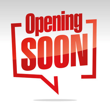 Opening Soon in brackets speech red white isolated sticker icon banner