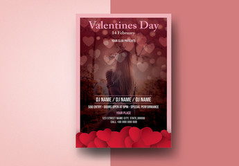 Valentine's Day Invitation Layout with Red Hearts and a Photo Placeholder