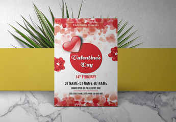 Valentine's Day Invitation Layout with Red Hearts