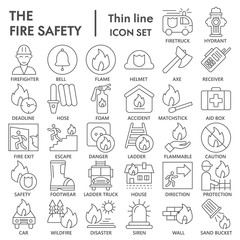 Fire safety thin line icon set, emergency symbols collection, vector sketches, logo illustrations, urgency signs linear pictograms package isolated on white background, eps 10.