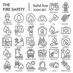 Fire safety line icon set, emergency symbols collection, vector sketches, logo illustrations, urgency signs linear pictograms package isolated on white background, eps 10.