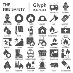 Fire safety glyph icon set, emergency symbols collection, vector sketches, logo illustrations, urgency signs solid pictograms package isolated on white background, eps 10.