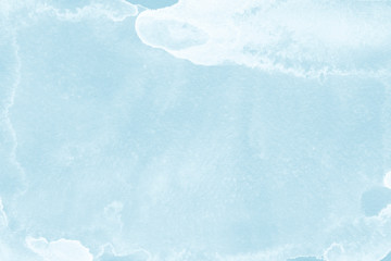 Watercolor blue texture with abstract washes and brush strokes on the white paper background. Digital paper background.