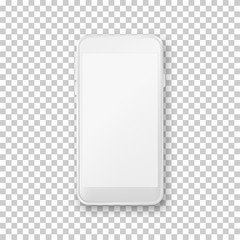 Smartphone mockup template. Vector realistic 3d illustration of white plastic mobile phone on transparent background.