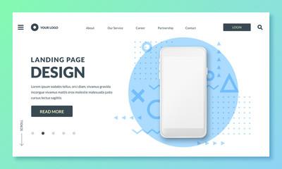 Fototapeta Landing page banner template. Smartphone realistic 3d illustration, mobile interface concept. Vector layout design.