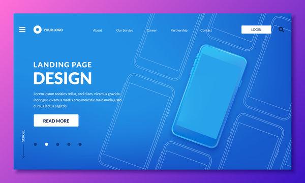 Blue 3d smartphone illustration, mockup for mobile interface, landing page or web banner. Vector layout design elements