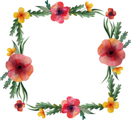 Square frame. A wreath of wild meadow flowers. Poppies and herbs