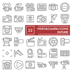 Videocamera thin line icon set, camera symbols collection, vector sketches, logo illustrations, photo signs linear pictograms package isolated on white background, eps 10.
