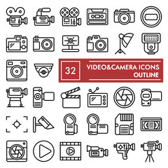 Videocamera line icon set, camera symbols collection, vector sketches, logo illustrations, photo signs linear pictograms package isolated on white background, eps 10.