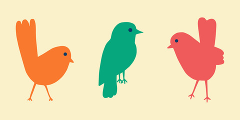 Cartoon style vector illustration of three colorful birds. Great design element for sticker, patch or poster. Orange, pink an turquoise children icon set. Unique and fun drawing