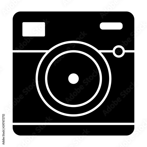 32aa08a5d810 Front view of camera solid icon. Photo camera vector illustration isolated  on white. Video camera glyph style design