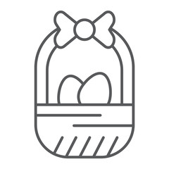 Easter basket thin line icon, easter and decoration, basket with eggs sign, vector graphics, a linear pattern on a white background.
