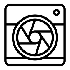 Camera with aperture line icon. Camera objective vector illustration isolated on white. Lens camera outline style design, designed for web and app. Eps 10.