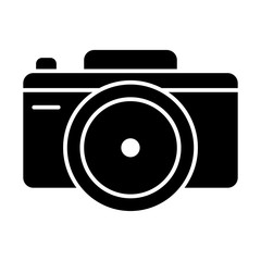 Photo camera solid icon. Photography vector illustration isolated on white. Capture glyph style design, designed for web and app. Eps 10.